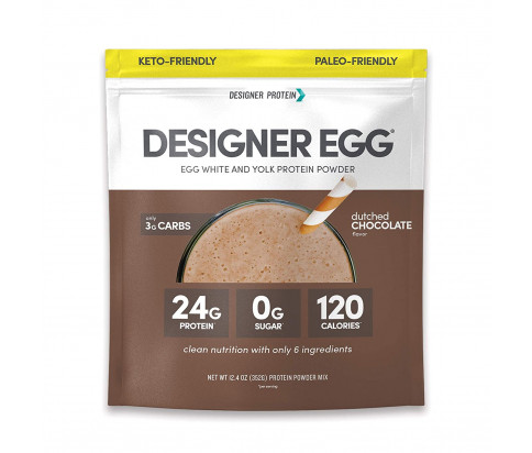 Designer Protein - Designer Egg Dutch Chocolate Protein Powder - Paleo, Keto Friendly, GMO-Free, Gluten Free (12.4oz)