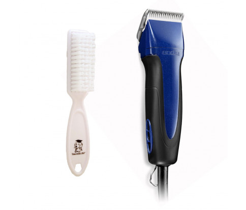 Andis Excel Pro-Animal 5-Speed Detachable Blade Clipper Kit - Professional Animal/Dog Grooming, Blue, SMC (65290) + Teachers Pet Nylon Barber Cleaning Brush For Cleaning Grooming Clippers, Beard Trimmers, Neck Shavers