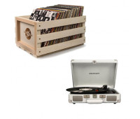 Crosley Cruiser Deluxe Record Player + Storage Crate Bundle