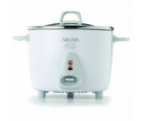 Aroma - 14 Cup White Simply Stainless Pot Style Rice Cooker