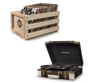 Crosley Executive Deluxe Portable Record Player + Storage Crate Bundle