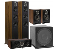 ELAC 5.1 Channel Debut Reference DFR52 Floorstanding Home Theater Speaker System - Black/Walnut With DCR52-BK + DBR62-BK-Pair and ELAC Subwoofer SUB3030