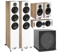 ELAC 5.1 Channel Debut Reference DFR52 Floorstanding Home Theater Speaker System - White/Oak With DCR52-BK + DBR62-BK-Pair and ELAC Subwoofer SUB3030