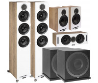 ELAC Debut Reference 5.2 Channel Home Theater System Bundle with DFR52 Floorstanding Speakers - Pair - White/Oak + DCR52-BK + DBR62-BK and 2 ELAC Subwoofer SUB3010