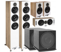ELAC Debut Reference 5.2 Channel Home Theater System DFR52 Tower Speakers- Pair - White/Oak Bundle With DCR52-BK + DBR62-BK + 2 ELAC Subwoofer SUB3030