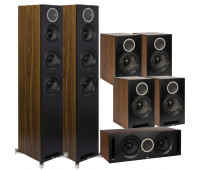 ELAC Debut Reference 7.0 Channel Home Theater System Bundle DFR52 Floorstanding Speaker - Pair - Black/Walnut With DCR52 Center Channel + 4 DBR62 Bookshelf/Surrounds