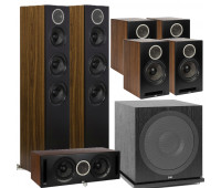ELAC Debut Reference DFR52 Floorstanding Speaker - Pair - Black/Walnut 7.1 Channel Home Theater System Bundle With DCR52-BK + 4 DBR62 Bookshelf/Surrounds + ELAC Subwoofer SUB3030