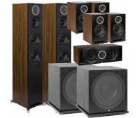 ELAC Debut Reference 7.2 Channel Home Theater System Bundle With DFR52 - Pair - Black/Walnut + DCR52 Center + 4 DBR62 Bookshelf/Surrounds + 2 ELAC Subwoofer SUB3030