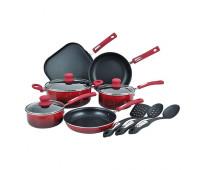 Hamilton Beach - 12pc Nonstick Aluminum Cookware Set Red