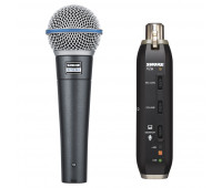 Shure BETA 58A Dynamic Vocal Microphone + X2U Microphone to USB Adapter Bundle