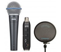Shure BETA 58A Dynamic Vocal Microphone + X2U Microphone to USB Adapter + PS-6 - Popper Stopper Windscreen Bundle
