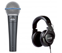 Shure BETA 58A Dynamic Vocal Microphone + SRH840 Professional Monitoring Headphones Bundle