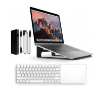 Twelve South bundle with MagicBridge Wireless Keyboard and Trackpad for Apple + ParcSlope Laptop Stand for MacBook - Matte Black + StayGo USB-C Hub