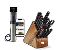 Anova Culinary Sous Vide Precision Cooker Pro (WiFi) + Wüsthof 8516-6 Gourmet Knife Block Set, One Size, Acacia Block, Stainless Knives